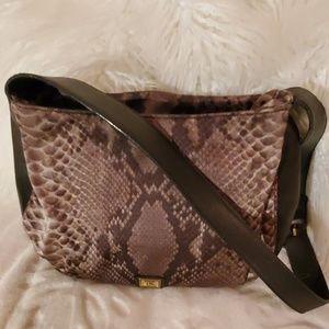 Moschino Red Wall Snake Print Nylon Shoulder bag